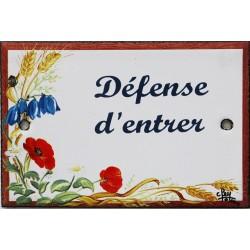 Plaque de porte émaillée plate de 10,5 x 7cm décor Fleurs des champs :  DÉFENSE D'ENTRER.