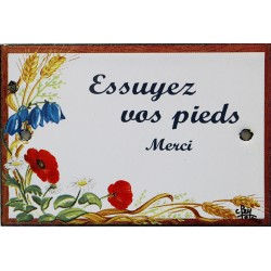 Plaque de porte émaillée plate de 10,5 x 7cm décor Fleurs des champs :  ESSUYEZ VOS PIEDS.