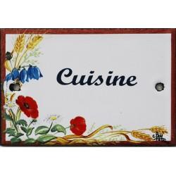 Plaque de porte émaillée plate de 10,5 x 7cm décor Fleurs des champs :  CUISINE.