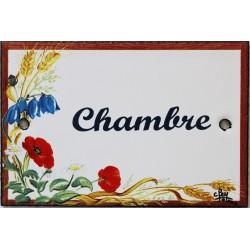 Plaque de porte émaillée plate de 10,5 x 7cm décor Fleurs des champs :  CHAMBRE.