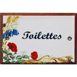 Plaque de porte émaillée plate de 10,5 x 7cm décor Fleurs des champs :  TOILETTES.