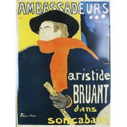 Plaque métal publicitaire bombée 30x40cm : ARISTIDE BRUANT.