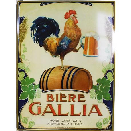 Plaque métal publicitaire 30x40cm bombée : BIERE GALLIA.
