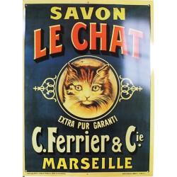 Plaque métal publicitaire 30x40 cm plate :  Savon Le Chat, Marseille