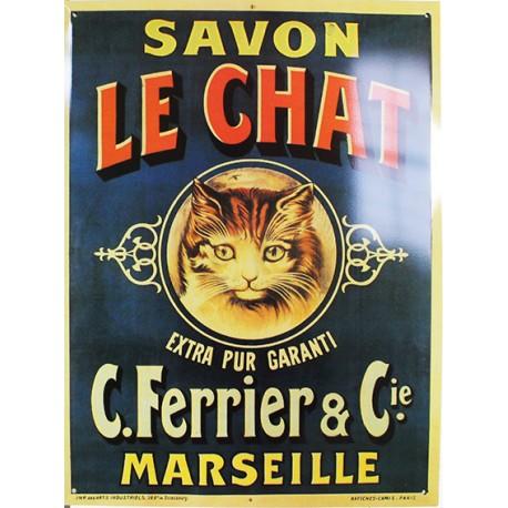 Plaque métal publicitaire 30x40 cm plate : Savon Le Chat, Marseille.