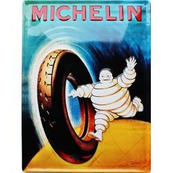 Plaque métal  publicitaire 30x40cm bombée en relief : MICHELIN PNEU MOTO