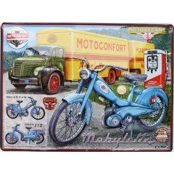 Plaque métal publicitaire 30x40cm bombée en relief  : Motobécane la bleue