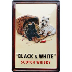 Plaque métal publicitaire 20x30cm bombée en relief : BLACK & WHITE