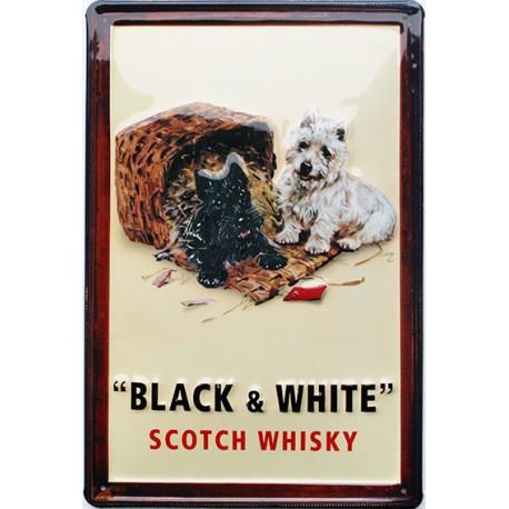 Plaque métal publicitaire 20x30cm bombée en relief : BLACK & WHITE.