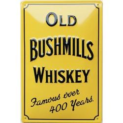 Plaque métal publicitaire 20x30 cm bombée en relief :   Old Bushmills Whiskey (A)