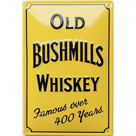 Plaque métal publicitaire 20x30 cm bombée en relief : Old Bushmills Whiskey.