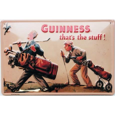 Plaque métal publicitaire 20x30cm cm bombée en relief : Guinness Golf.