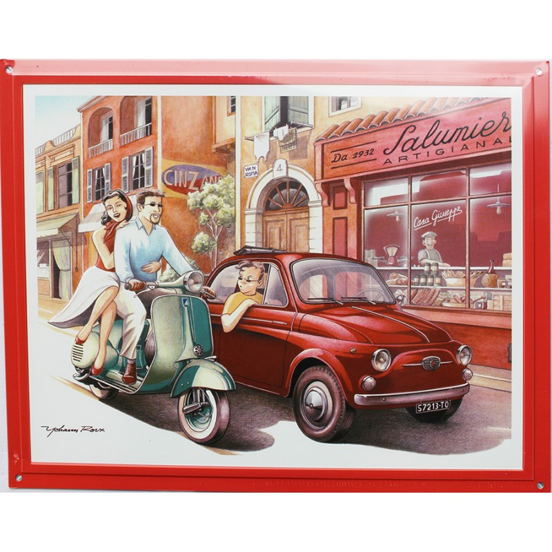 plaque publicitaire m tal 30x40cm plate relief fiat 500. Black Bedroom Furniture Sets. Home Design Ideas
