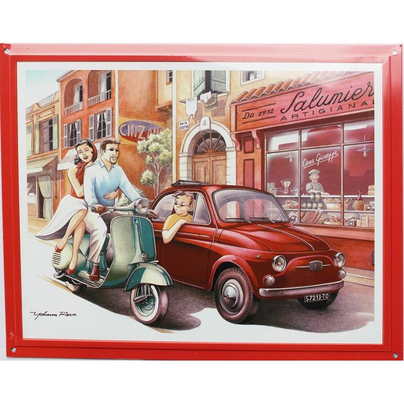 plaque publicitaire m tal 30x40cm plate relief fiat 500. Black Bedroom Furniture Sets. Home Design Ideas