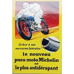 Plaque métal publicitaire 27x40cm plate en relief : MICHELIN LE NOUVEAU PNEU...