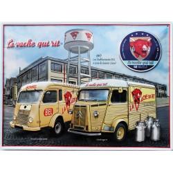 """plaque métal publicitaire 30x40cm bombée en relief : Camionnette """" La vache qui rit"""""""