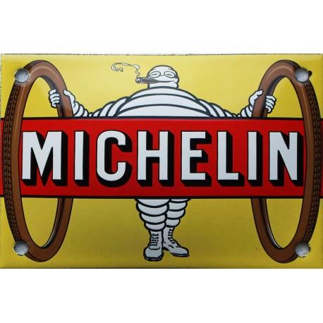 Plaque émaillée, bombée, Michelin trace la Route de 10x15cm
