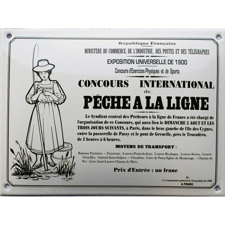 Plaque émaillée :  CONCOURS DE PÊCHE A LA LIGNE.