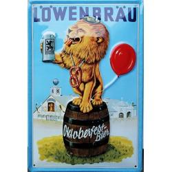 Plaque métal publicitaire 20x30cm bombée en relief : Löwenbräu