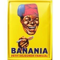 Plaque métal publicitaire 30x40cm bombée : BANANIA TÊTE