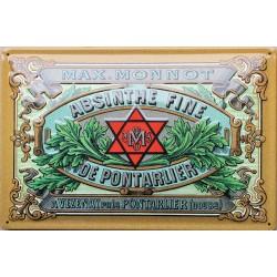 Plaque métal publicitaire 20x30 cm bombée en relief  : Absinthe de Pontarlier.