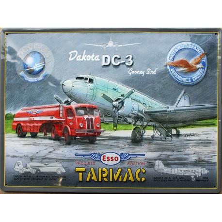 plaque métal publicitaire 30x40cm plate en relief  :  TARMAC  ESSO