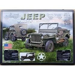 plaque métal publicitaire bombée relief  30 x 40 cm : JEEP WILLYS