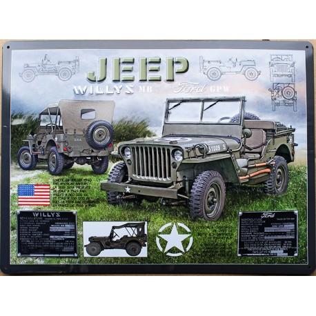 plaque métal publicitaire bombée relief  30 x 40 cm : JEEP WILLYS.