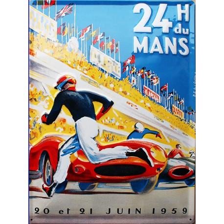 plaque métal publicitaire 30x40cm relief : 24 h du Mans 1959