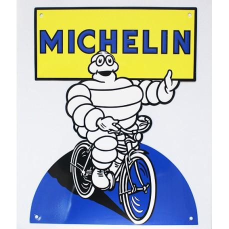 Plaque métal publicitaire 30x40cm découpée relief : Michelin pneu