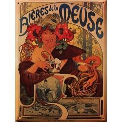 Plaque métal publicitaire 30x40cm bombée : Bières de la Meuse.