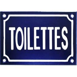 Plaque émaillée de 10 x 15 cm en relief, plate, fait au pochoir : TOILETTES