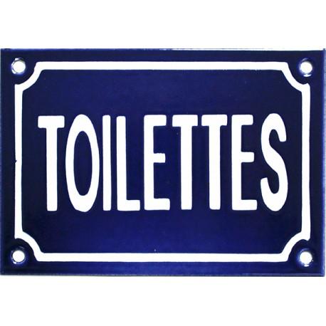 Plaque émaillée de 10 x 15 cm plate, fait au pochoir : TOILETTES