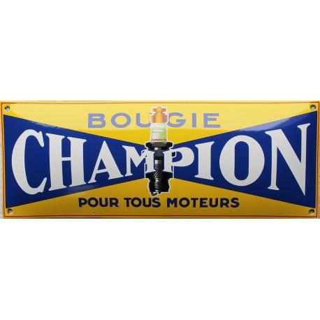 Plaque émaillée : BOUGIE CHAMPION.