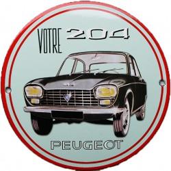 plaque émaillée : Peugeot 204.