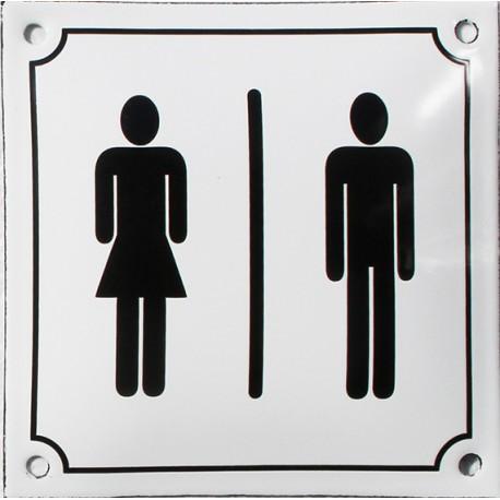 Plaque de rue émaillée de 10x15cm plate, faite au pochoir: TOILETTES FEMME