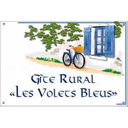 Plaque émaillée 20 x 30 cm : Décor Volets Bleus