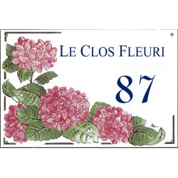 Plaque émaillée 20 x 30 cm : Décor Hortensias rouges