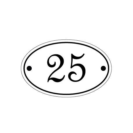 Numéro de rue ovale émaillé 11 x 7 cm.