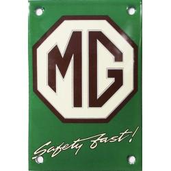 Plaque émaillée  bombée :  MG  logo