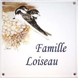 Plaque émaillée 15 x 15 cm : Décor Couple d'Hirondelles