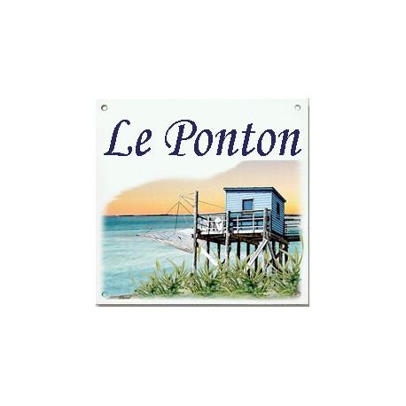 Plaque émaillée 15 x 15 cm : Décor Cabane du Pêcheur