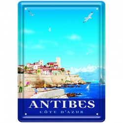 Plaque métal publicitaire 15 x 21 cm plate : ANTIBES