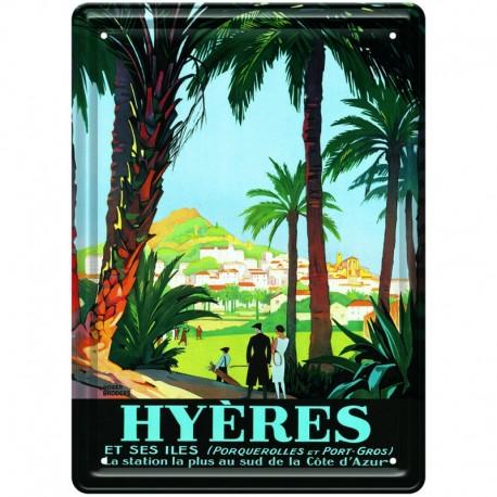 Plaque métal publicitaire 15 x 21 cm plate : HYERES