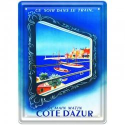 Plaque métal publicitaire 15 x 21 cm plate : COTE D'AZUR demain matin