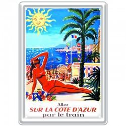Plaque métal publicitaire 15 x 21 cm plate : COTE D'AZUR par le train