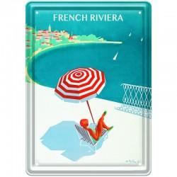 Plaque métal publicitaire 15 x 21 cm plate : FRENCH RIVIERA