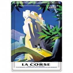 Plaque métal publicitaire 15 x 21 cm plate : LA CORSE - CORTE