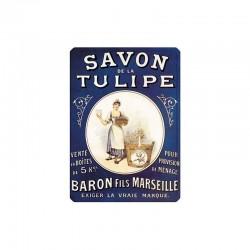 Plaque métal publicitaire 15 x 21 cm bombée :  SAVON DE LA TULIPE