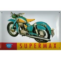 Plaque métal  publicitaire 20x30cm bombée en relief :  NSU SUPERMAX.